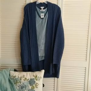 Mixed stitch open front cardi by J. Jill.